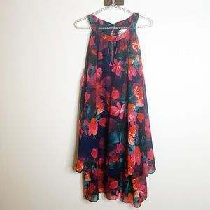 NWT Eliza J Sleeveless Ruffle Floral Midi Dress